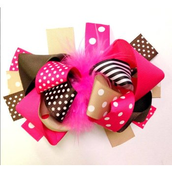 Pink Brown and Tan Stripes an Dots Boutique Hairbow