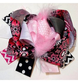 Pink Black and White Flower Power Bow
