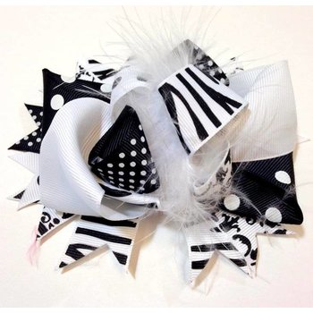 Black and White Zebra and Damask Bow