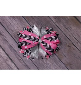 Silver/Pink/Black and Polk a Dot  4in Boutique Bow