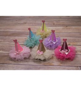 Kenzie Tulle Trimmed Sparkle Party Hat