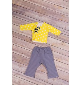 Premie Yums Yellow Dot Shirt, Flare Leg Pant