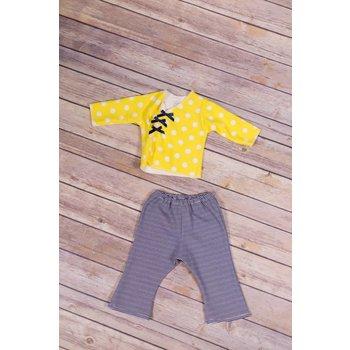 Premie Yums Yellow Dot Shirt, Flare Leg Pant