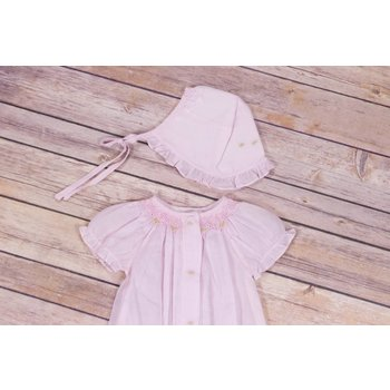 Rosalina Baby Collections, Inc. Pink Smocked Bubble With Matching Bonnet