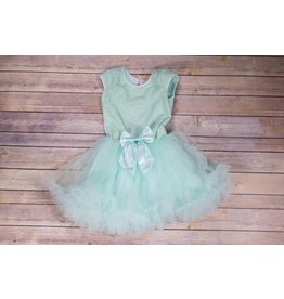 Popatu Mint Green Petti Dress With Satin Bow