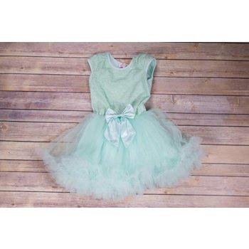 Popatu Mint Green Petti Dress With Satin Bow
