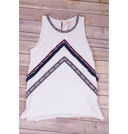 Hayden Red White and Blue Embellished Knit Tunic
