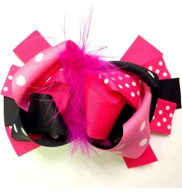 Black and Pink Dots with Pink Feather 3.5 in Boutique Bow