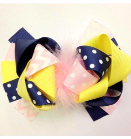 Navy Yellow and Lt Pink Boutique 4in Bow