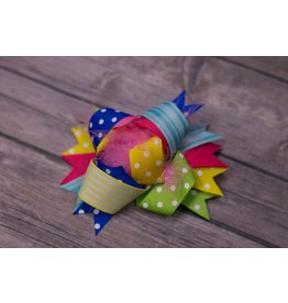 Yellow Green Royal Pink Dot 3.5 in Boutique Bow