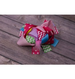 Pink Green Blue Yellow and Purple Dot 4in Boutique Bow