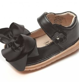 Mooshu Trainers Black Bow Toddler Squeaky Shoes