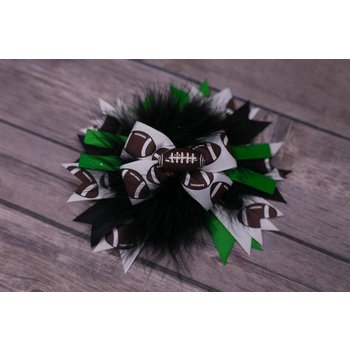 Green Brown and White Football 4 in Boutique Bow
