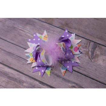 Easter Polka Dot Lilac Feathered 3.5in Boutque Bow