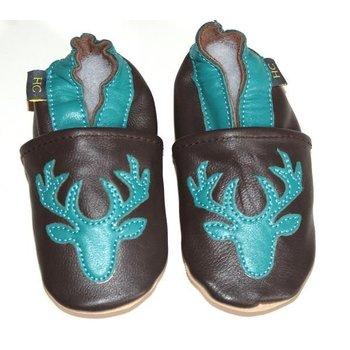 Helene's Closet Leather Teal Deer Moccasins