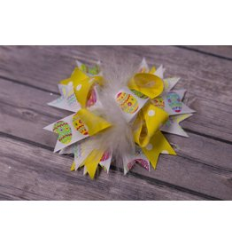 Easter Yellow Polka Dot Feathered 3.5in Boutique Bow
