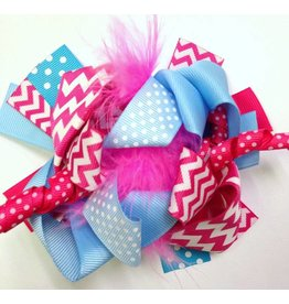 Pink and Blue Chevron 4in Boutique Bow