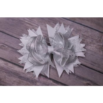 Silver and White Over The Top 3.5in Boutique Bows