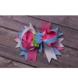 Pink Blue and White Seahorse 4in Boutique Bow