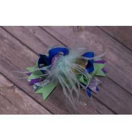 Green Blue and Purple 4.5 in. Boutique Bow