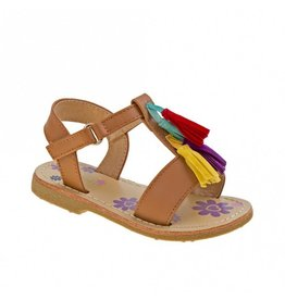 Petalia Tan Sandal Blue Yellow Purple Tassle