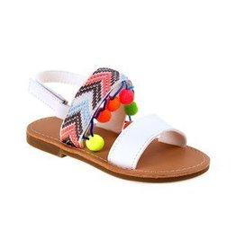 Nanette Lepore Brown and White Multi-Colored Pom Pom Sandals