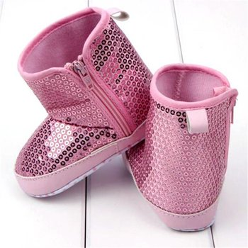 Baby Pink Sequin Boots