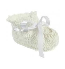 Baby Deer White Knit Bootie 0-3M