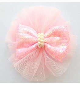 Mae Li Rose Vintage Light Pink Sequin Bow Clip