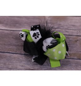 Black/Green/White Paw Print 4.5 in Boutique Bow