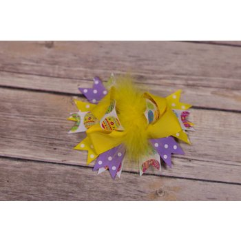 Yellow Feathered Easter Egg 3.5in Boutique Bow