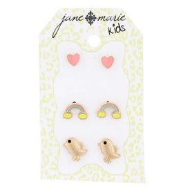 Jane Marie 3 Sets of Stud Earrings Pink Hearts, Rainbows and Birds