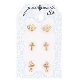 Jane Marie 3 Sets Gold Stud Earrings Tea Pots, Crosses, and Ballerinas