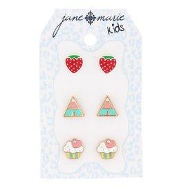 Jane Marie 3 Sets of Stud Earrings, Cupcake, Triangles, and Strawberries