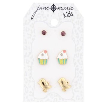 Jane Marie 3 Sets of Stud Earrings, Dolphin, Cupcake, and Purple
