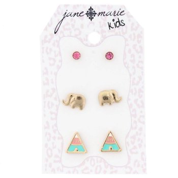 Jane Marie 3 Sets of Stud Earrings, Pink, Elephant and Triangle