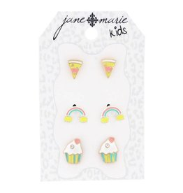 Jane Marie 3 Sets of Stud Earrings Cupcakes, Rainbows, and Pizza