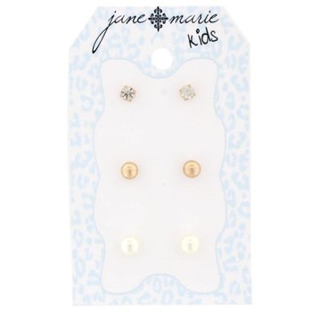 Jane Marie 3 Sets of Stud Earrings Pearl, Gold Ball and Quartz