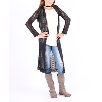 Lori & Jane Black Crochet Lace Long Cardigan