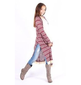 Lori & Jane Burgundy Stripe Long Cardigan With Fringe Trim