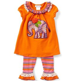 Bonnie Jean Orange Elephant Tunic And Legging Set