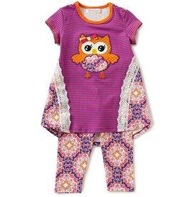 Bonnie Jean Striped Owl Tunic And Legging Set