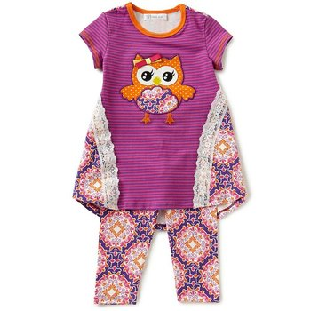 Bonnie Baby Striped Owl Tunic And Legging Set