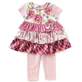 Bonnie Baby Plum Floral And Striped  Tunic And Legging Set