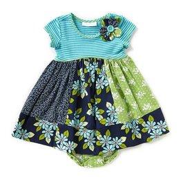 Bonnie Jean Multi Media Green And Blue Dress