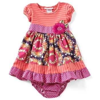 Bonnie Baby Fuchsia and Coral Jewel Neck Striped Dress with Sequined Flower and Patterned
