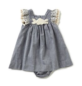 Bonnie Baby Chambray And Ivory Tassel Dress