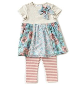 Bonnie Jean Floral Forest Friends Tunic And Legging Set