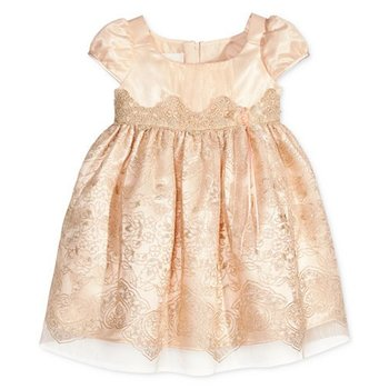 Bonnie Baby Peach Dress with Gold Lace Embellishment Puffy Sleeves and Pink Flower Accent