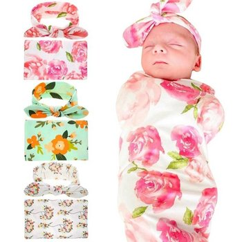 Floral Printed Blanket with Matching Headband